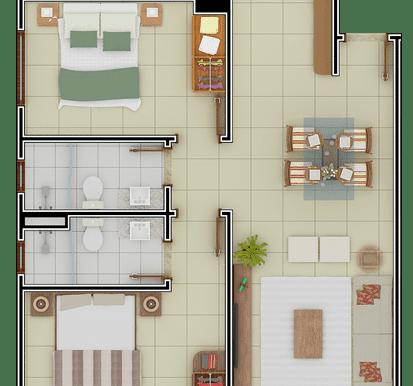 Planta Baixa 2 dormitórios